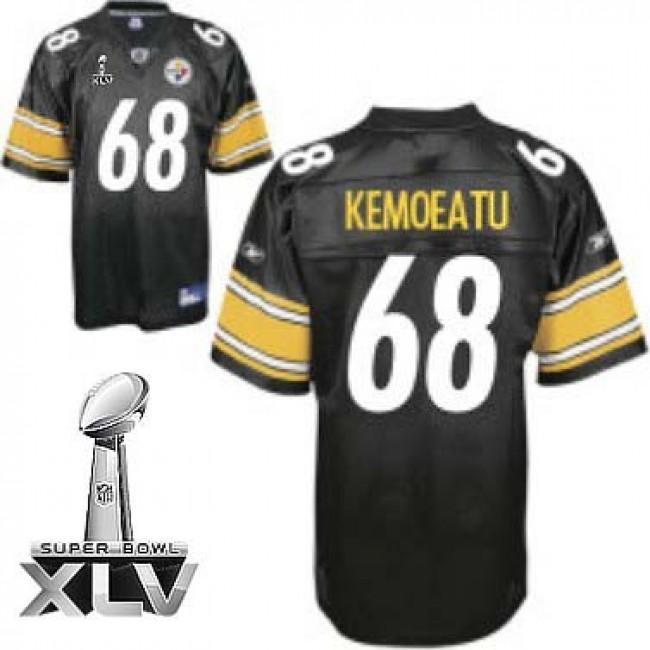 Steelers #68 Chris Kemoeatu Black Super Bowl XLV Stitched NFL Jersey