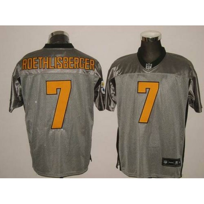 Steelers #7 Ben Roethlisberger Grey Shadow Stitched NFL Jersey