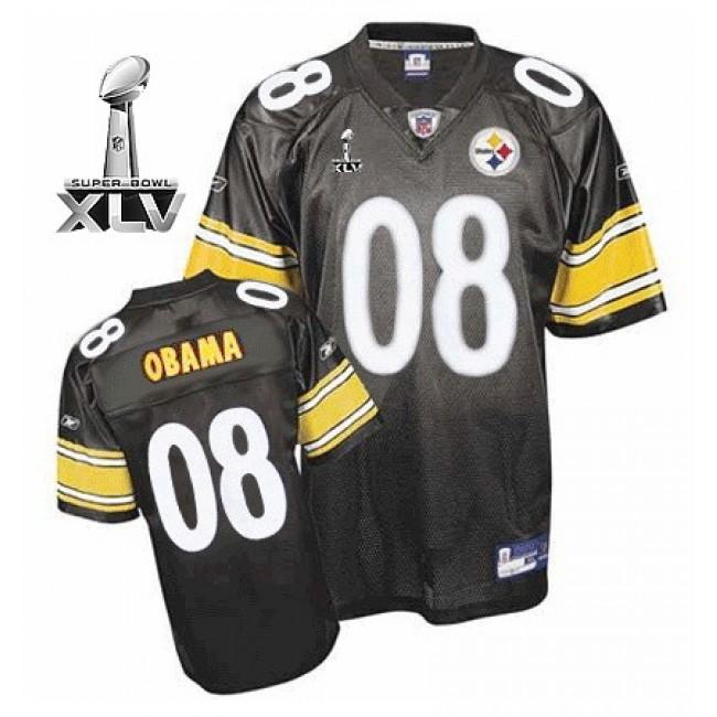 Steelers #8 President Obama Super Black Bowl XLV Stitched NFL Jersey