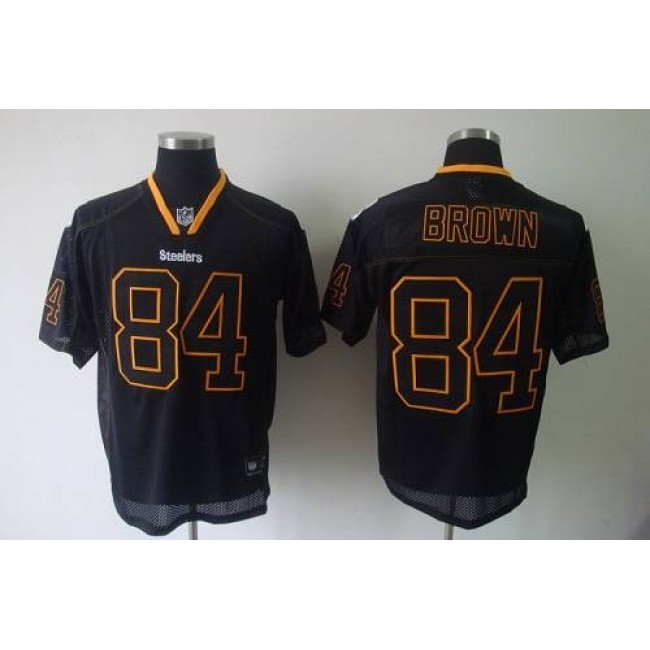 Steelers #84 Antonio Brown Lights Out Black Stitched NFL Jersey