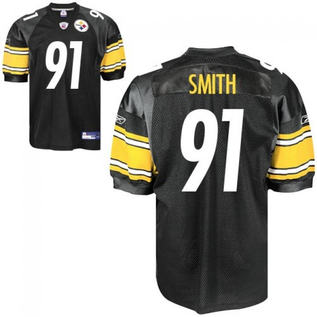 Steelers #91 Aaron Smith Black Stitched NFL Jersey
