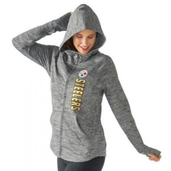 Women's NFL Pittsburgh Steelers G-III 4Her by Carl Banks Recovery Full-Zip Hoodie Heathered Gray Jersey
