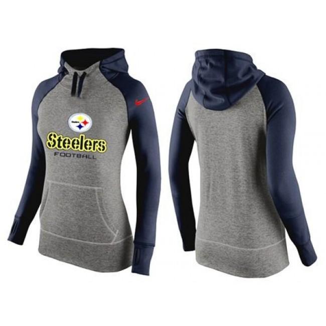 Women's Pittsburgh Steelers Hoodie Grey Dark Blue-2 Jersey