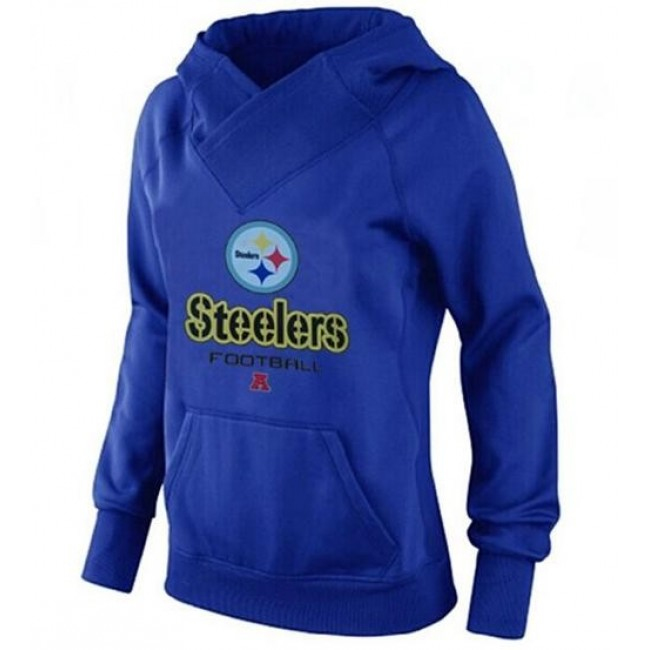 Women's Pittsburgh Steelers Big Tall Critical Victory Pullover Hoodie Blue Jersey