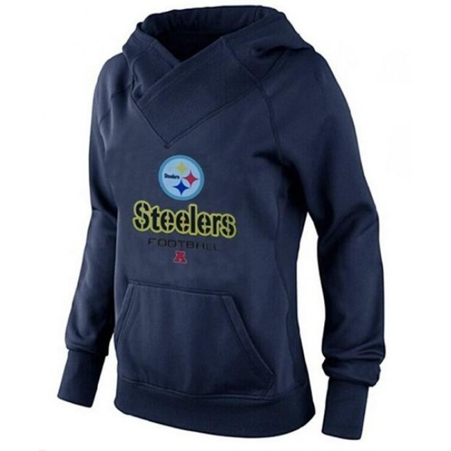 Women's Pittsburgh Steelers Big Tall Critical Victory Pullover Hoodie Navy Blue Jersey