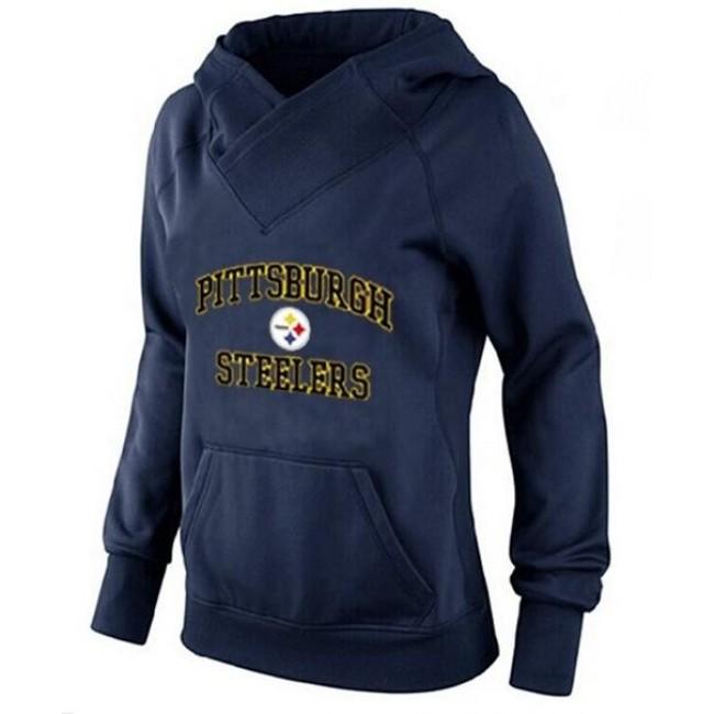 Women's Pittsburgh Steelers Heart Soul Pullover Hoodie Navy Blue Jersey