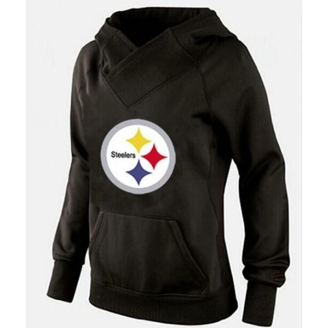 Women's Pittsburgh Steelers Logo Hoodie Black Jersey