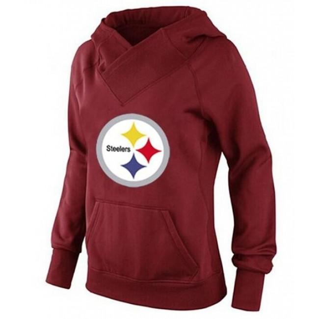 Women's Pittsburgh Steelers Logo Hoodie Red Jersey