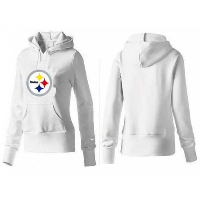 Women's Pittsburgh Steelers Logo Pullover Hoodie White Jersey