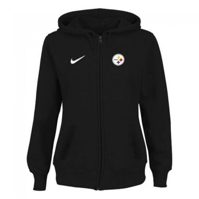 Women's Pittsburgh Steelers Stadium Rally Full Zip Hoodie Black Jersey
