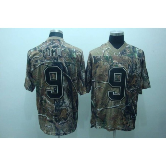 Cowboys #9 Tony Romo Camouflage Realtree Embroidered NFL Jersey