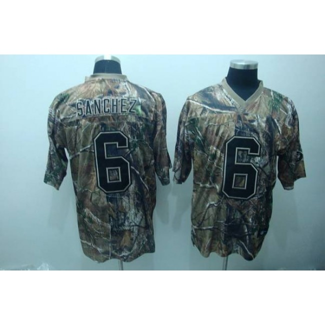 Jets #6 Mark Sanchez Camouflage Realtree Embroidered NFL Jersey