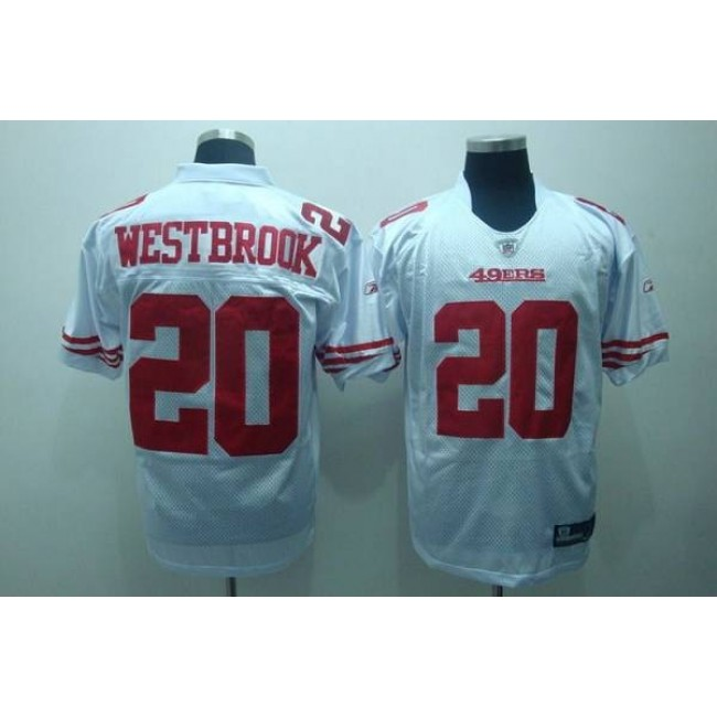 49ers #20 Brian Westbrook White Stitched NFL Jersey
