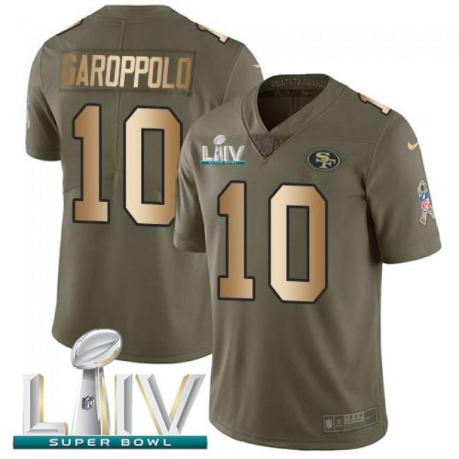 Nike 49ers #10 Jimmy Garoppolo Olive/Gold Super Bowl LIV 2020 Men's Stitched NFL Limited 2017 Salute To Service Jersey