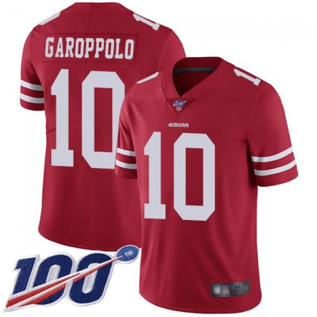 Nike 49ers #10 Jimmy Garoppolo Red Team Color Men's Stitched NFL 100th Season Vapor Limited Jersey