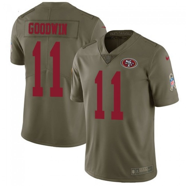 San Francisco 49ers #11 Marquise Goodwin Olive Youth Stitched NFL Limited 2017 Salute to Service Jersey
