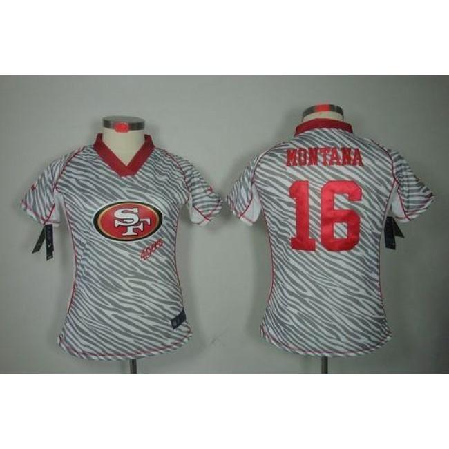 Women's 49ers #16 Joe Montana Zebra Stitched NFL Elite Jersey