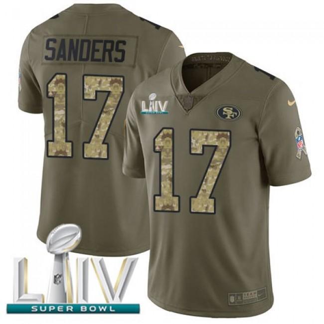Nike 49ers #17 Emmanuel Sanders Olive/Camo Super Bowl LIV 2020 Men's Stitched NFL Limited 2017 Salute To Service Jersey