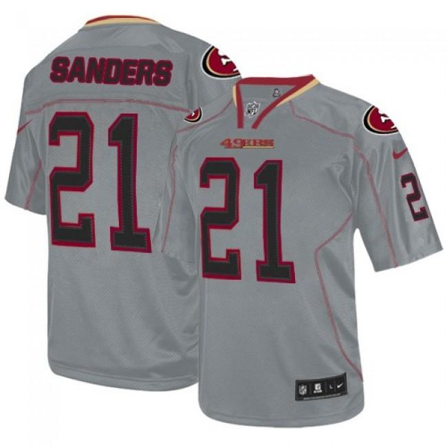 Nike 49ers #21 Deion Sanders Lights Out Grey Men's Stitched NFL Elite Jersey