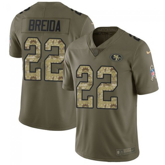San Francisco 49ers #22 Matt Breida Olive-Camo Youth Stitched NFL Limited 2017 Salute to Service Jersey