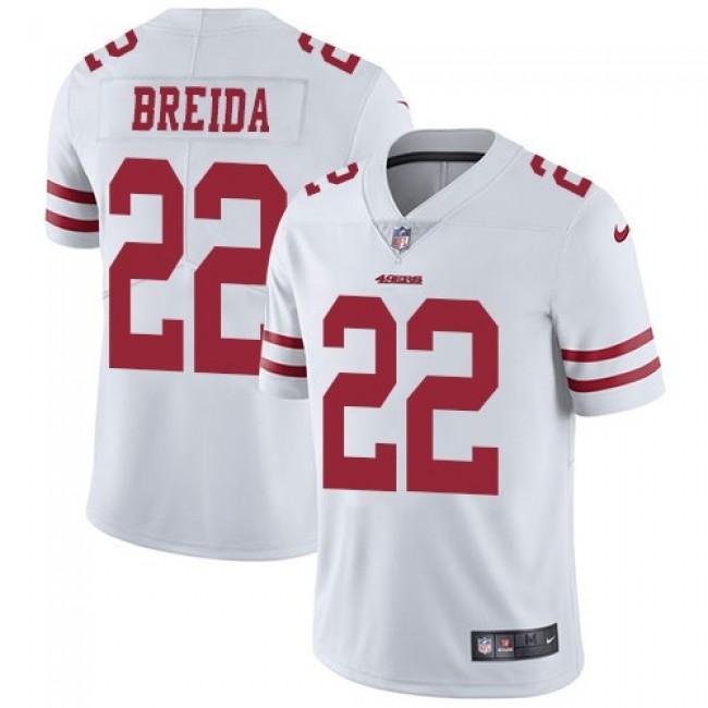 San Francisco 49ers #22 Matt Breida White Youth Stitched NFL Vapor Untouchable Limited Jersey