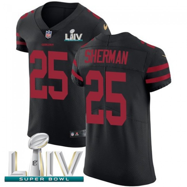 Nike 49ers #25 Richard Sherman Black Super Bowl LIV 2020 Alternate Men's Stitched NFL Vapor Untouchable Elite Jersey