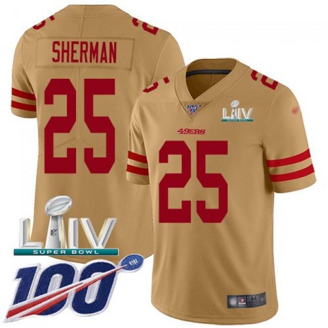 Nike 49ers #25 Richard Sherman Gold Super Bowl LIV 2020 Men's Stitched NFL Limited Inverted Legend 100th Season Jersey
