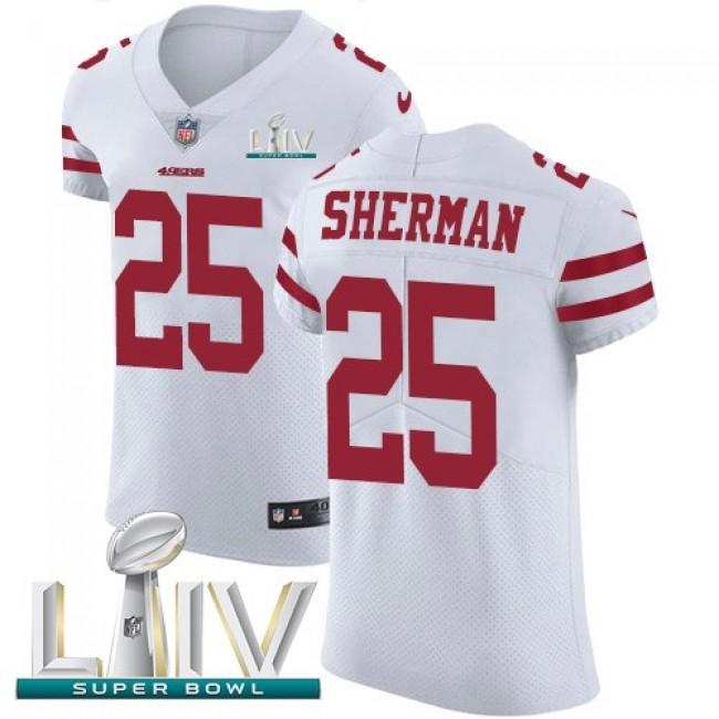 Nike 49ers #25 Richard Sherman White Super Bowl LIV 2020 Men's Stitched NFL Vapor Untouchable Elite Jersey