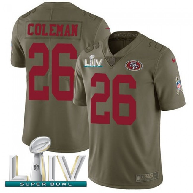 Nike 49ers #26 Tevin Coleman Olive Super Bowl LIV 2020 Men's Stitched NFL Limited 2017 Salute To Service Jersey