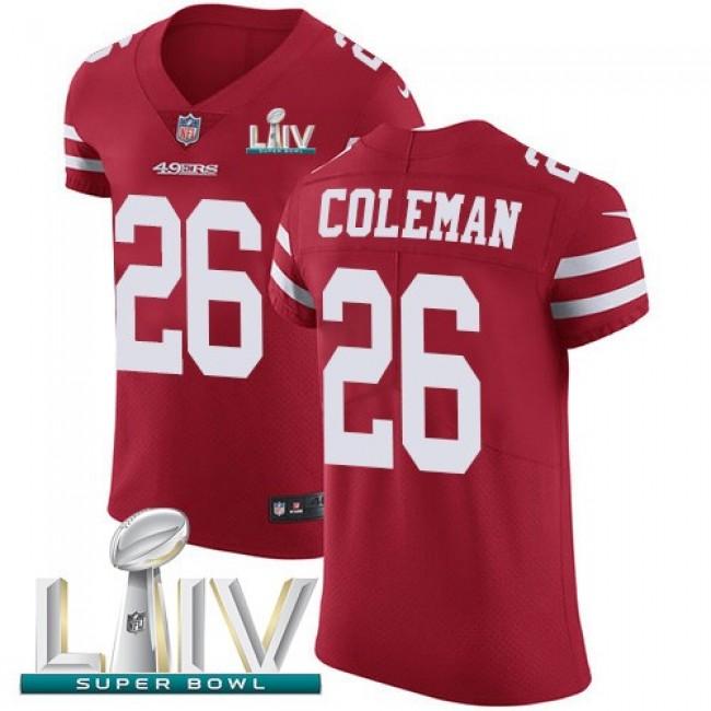 Nike 49ers #26 Tevin Coleman Red Super Bowl LIV 2020 Team Color Men's Stitched NFL Vapor Untouchable Elite Jersey