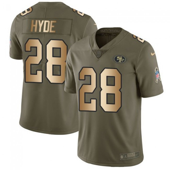 San Francisco 49ers #28 Carlos Hyde Olive-Gold Youth Stitched NFL Limited 2017 Salute to Service Jersey