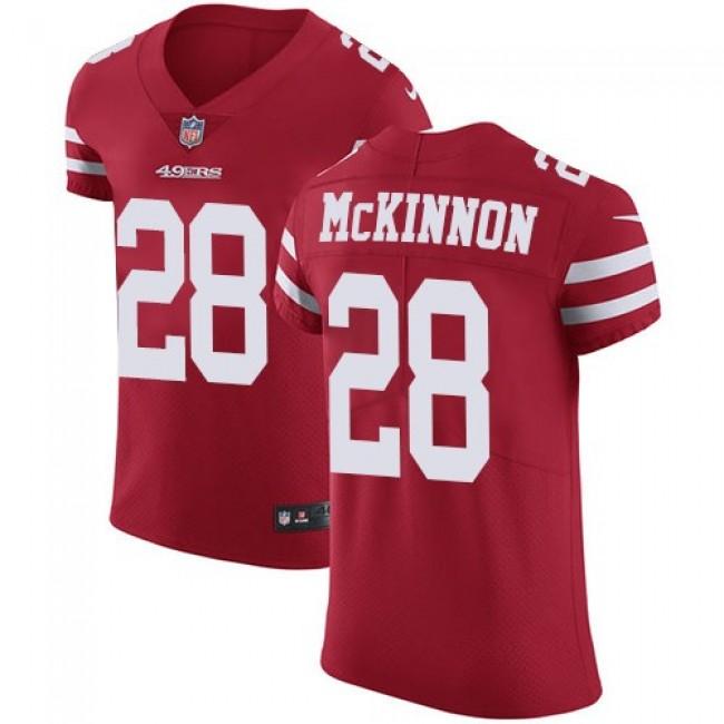 Nike 49ers #28 Jerick McKinnon Red Team Color Men's Stitched NFL Vapor Untouchable Elite Jersey
