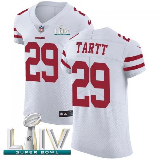 Nike 49ers #29 Jaquiski Tartt White Super Bowl LIV 2020 Men's Stitched NFL Vapor Untouchable Elite Jersey