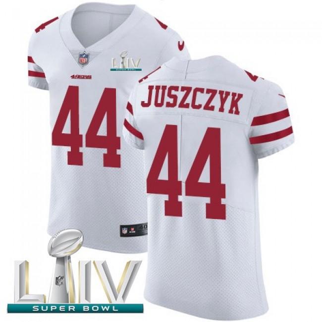 Nike 49ers #44 Kyle Juszczyk White Super Bowl LIV 2020 Men's Stitched NFL Vapor Untouchable Elite Jersey