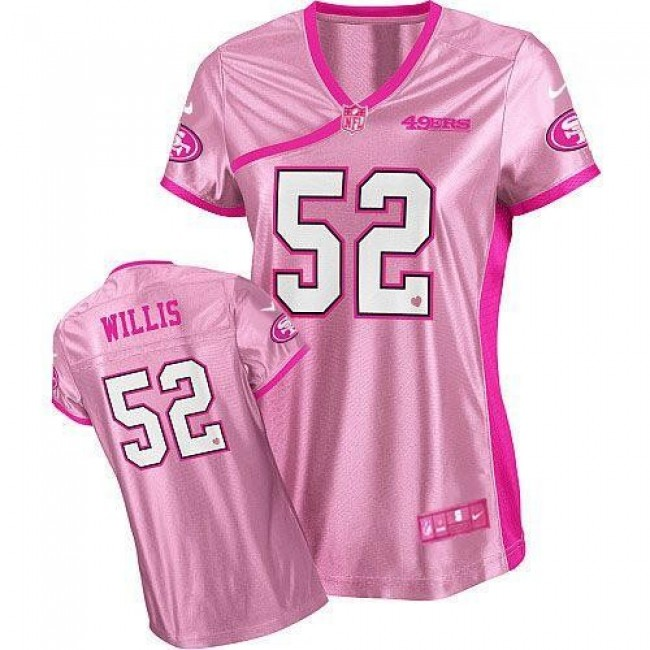 Women's 49ers #52 Patrick Willis Pink Be Luv'd Stitched NFL Elite Jersey