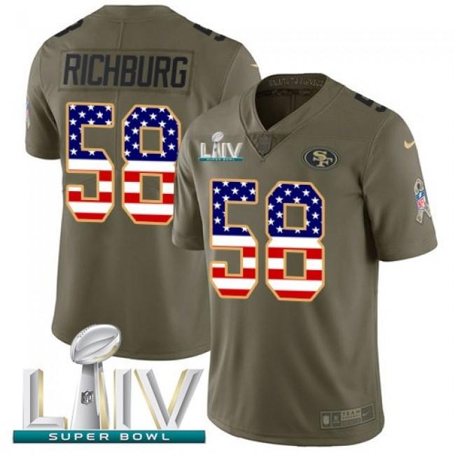 Nike 49ers #58 Weston Richburg Olive/USA Flag Super Bowl LIV 2020 Men's Stitched NFL Limited 2017 Salute To Service Jersey