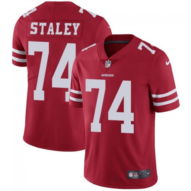 Nike 49ers #74 Joe Staley Red Team Color Men's Stitched NFL Vapor Untouchable Limited Jersey