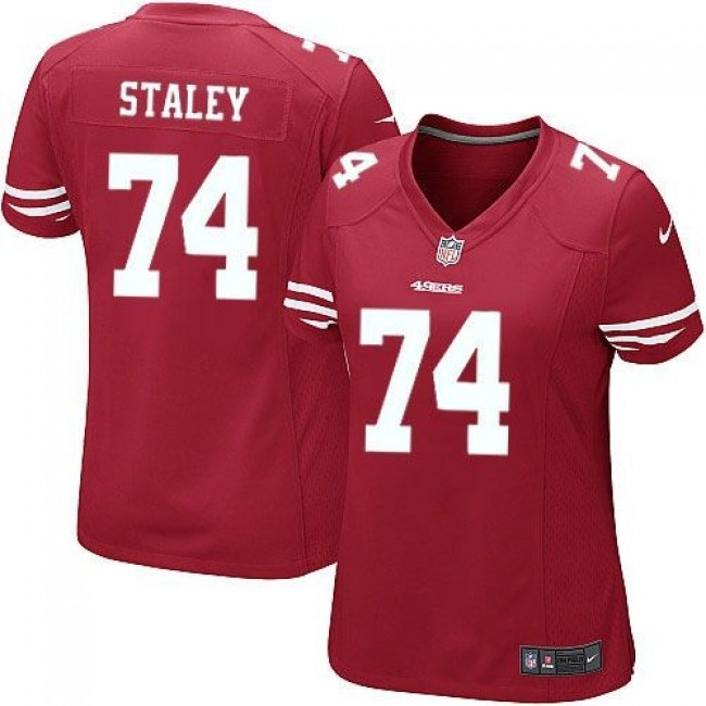Women's 49ers #74 Joe Staley Red Team Color Stitched NFL Elite Jersey