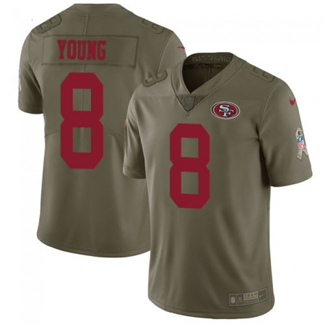 Nike 49ers #8 Steve Young Olive Men's Stitched NFL Limited 2017 Salute to Service Jersey