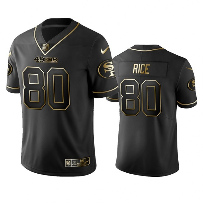 Nike 49ers #80 Jerry Rice Black Golden Limited Edition Stitched NFL Jersey