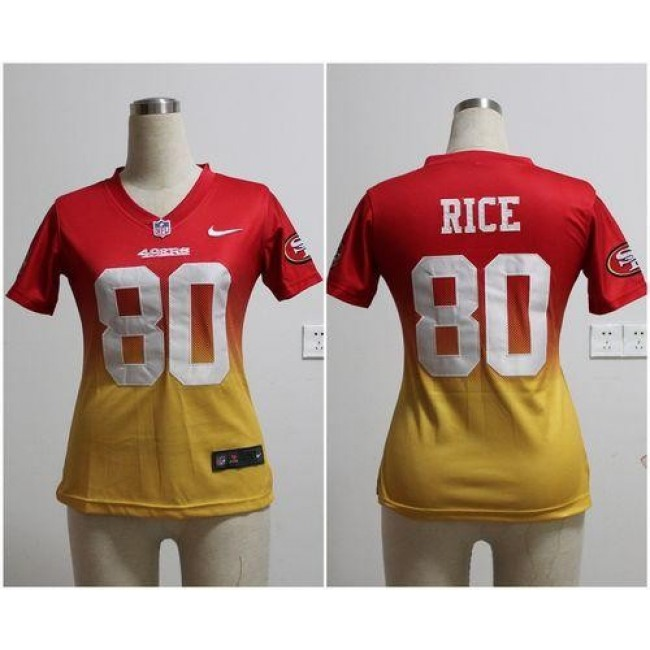 Women's 49ers #80 Jerry Rice Red Gold Stitched NFL Elite Fadeaway Jersey