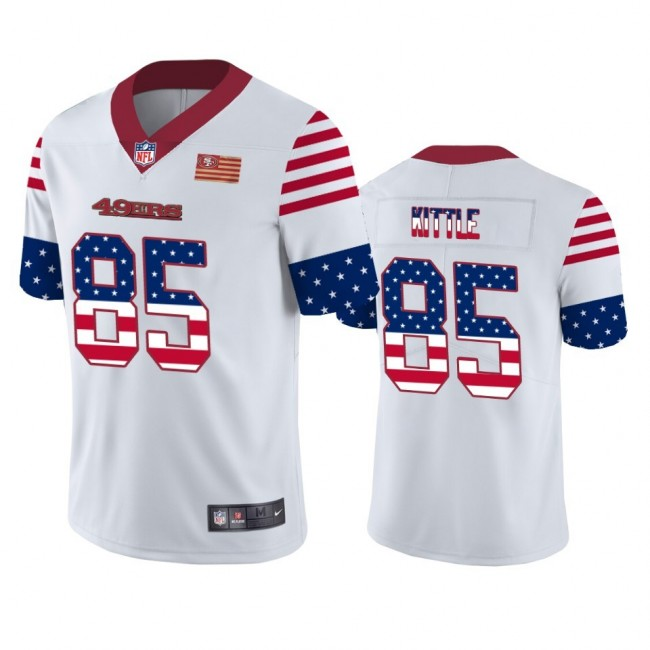 San Francisco 49ers #85 George Kittle White Men's Nike Team Logo USA Flag Vapor Untouchable Limited NFL Jersey
