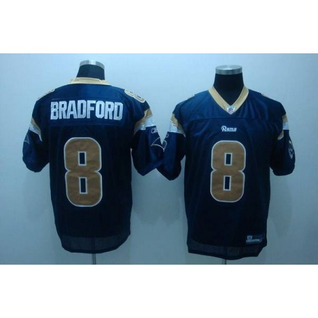 Rams #8 Draft Player Sam Bradford Stitched Blue NFL Jersey