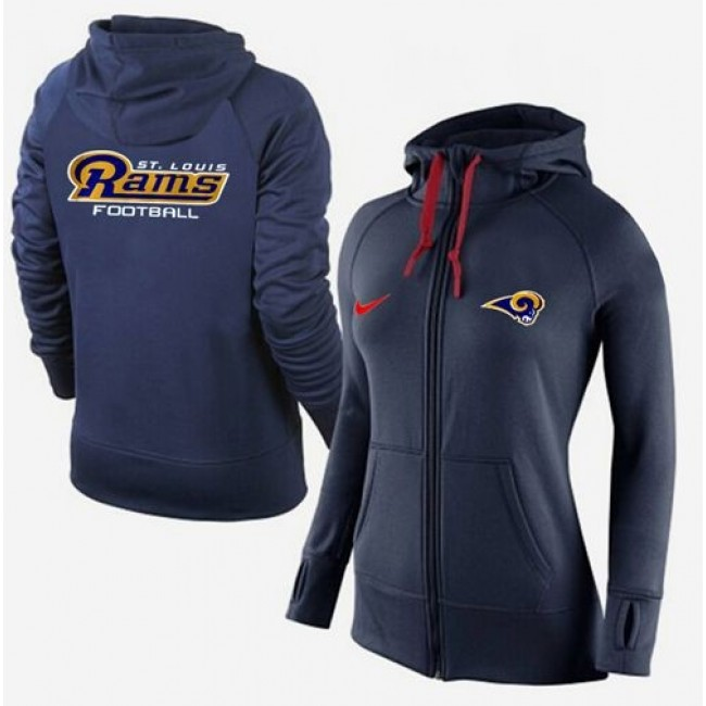 Women's St.Louis Rams Full-Zip Hoodie Dark Blue Jersey