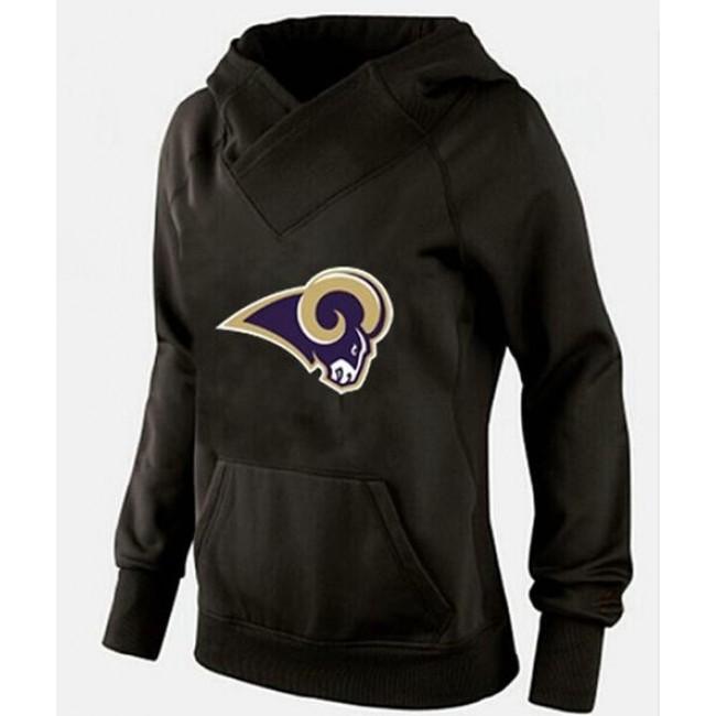Women's St.Louis Rams Logo Pullover Hoodie Black-1 Jersey